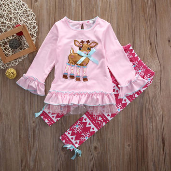 2pcs christmas suit  !!! Cute Newborn Toddler Kids Baby Girl Outfit T-shirt Top+ Pants Clothes XMAS Set