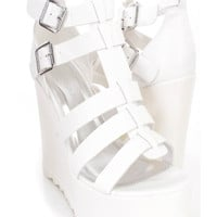 White Strappy Platform Wedges Faux Leather