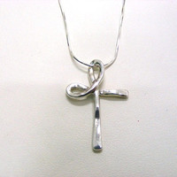 Holyland Sterling Silver Cross made from Curled Wire Necklace