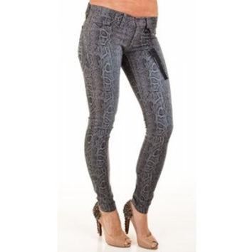Flying Monkey Snake Print Stretch Skinny Jeans L7392 size 29