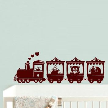 Wall Decal Vinyl Decal Sticker Decal Nursery Kids Baby Train Animals Beautiful z535