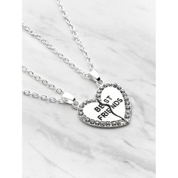 Rhinestone Trim Heart Shaped Friendship Necklace 2pcs