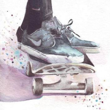 HM054 Original watercolor art of Skateboarder painting by Helga McLeod