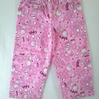 Girl's Fun Flannel Lounge Pants  Pink with White  Size 4 by vw53