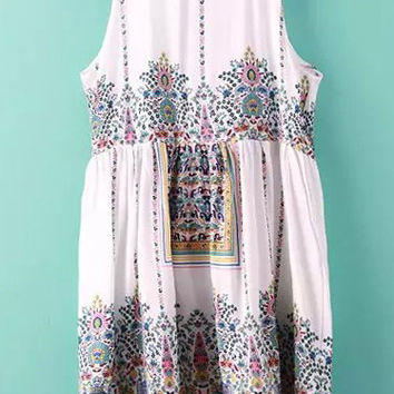 White Tribal Print High Waist Keyhole Back Mini Dress