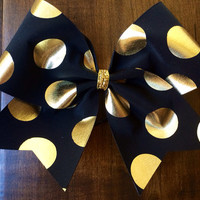 Cheer Bow - Black with Gold Polka Dots