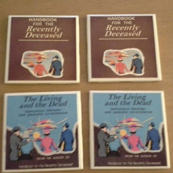 Handbook of the Recently Deceased and Living Movie Inspired Set of 4 Coasters