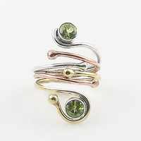 Peridot Three Tone Sterling Silver Adjustable Wrap Ring