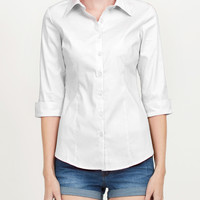 LE3NO Womens 3/4-Sleeve Easy Care Shirt