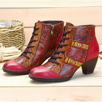 SOCOFY Hand Made Genuine Leather Colorful Vintage Bohemian Floral Stamped Booties