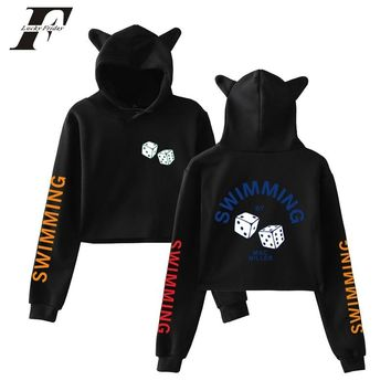 bts Mac Miller 2018 Cat Ears Cap Short Sexy Hoodies sweatshirts  Women men Sexy Exposed Navel K-Pop Hip Hop Pullover Sweatshirt