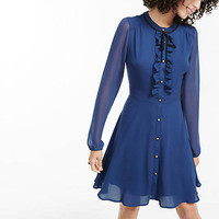 Navy Tie Neck Ruffled Shirt Dress