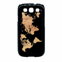 World Map On Wood Texture Print Samsung Galaxy S3 Case