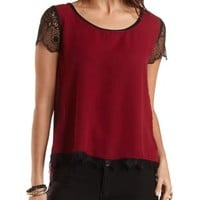 Faux Leather, Lace & Chiffon Top by Charlotte Russe - Oxblood