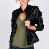 Biker Vegan Leather Jacket Black