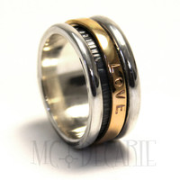 His and hers spinner ring set with 10k gold, wedding ring, unisex spinner ring sterling silver personalized with engraving, coordinates ring
