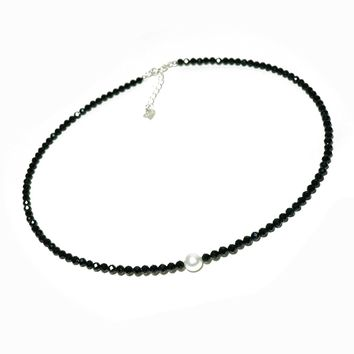 Wiw Single Pearl Choker Necklace on Black Spinel Rondelle Beads Necklace Strand with 925 Silver Ext. Clasp Handmade Jewelry