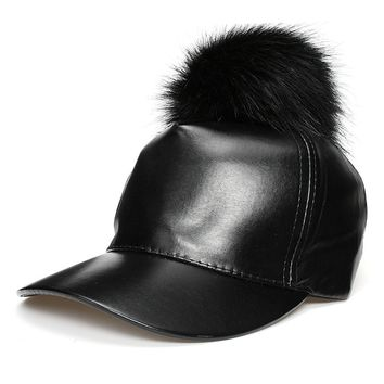 Trendy Winter Jacket Adjustable Snapback Baseball Cap Fur Pompom Hat PU Leather Black Hip Hop Caps with Furry Ball Winter Women Girls Solid Sun Cap AT_92_12