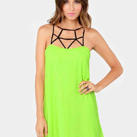 'The Angela' Green Cutout Chiffon Mini Dress