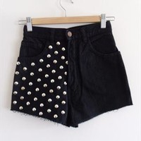 "Reworked Black Studded High Waisted Denim Cut Off Shorts 24"" from SianVictoriaBoutique"