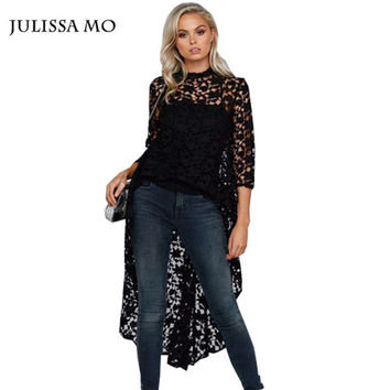 Julissa Mo 2016 New Autumn Black Lace Blouse Sexy Lace Crochet Tuxedo Shirt Tops Blusas Femininas Plus Size Women Blouses
