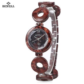 Original BEWELL Women Quartz Artificial Jade Watch Slender Band Female Creative Analog Quartz Wristwatch Relojes Mujer Gifts