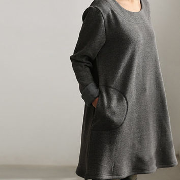 simple warmth Dress bottoming shirt gown