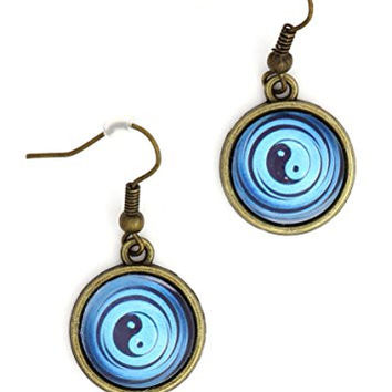 Yin Yang Earrings Antique Gold Tone Medallion EK23 Tao Dangle Blue Earrings Fashion Jewelry