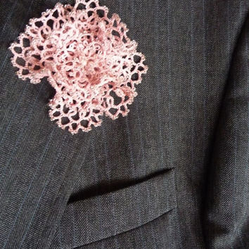 Tatting Flower Boutonniere Salmon Pink with beads - Wedding Buttonhole - Lace Buttonhole - Bridesmaid - Custom Colors