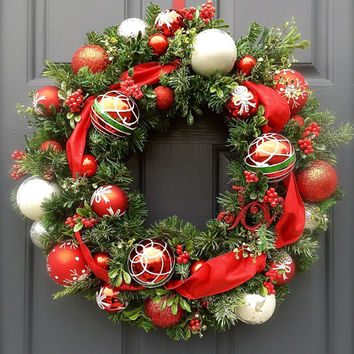 Red White Silver Christmas Wreaths Door Holiday Reds Ornament Wreaths Evergreen Decor