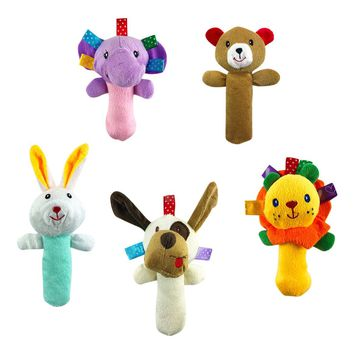 5 PCS Set Cartoon Stuffed Animal Baby Soft Plush Hand Rattle Squeaker Sticks for Toddlers