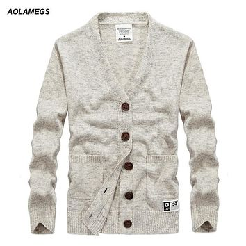 Aolamegs Men Cashmere Sweater V-neck Knitted Wool Cardigan Men's Fashion Casual Slim Fit Sweater coat Male New Knitting outwear