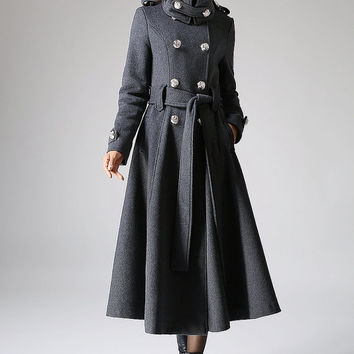 Gray coat Cashmere coat Long coat Military Coat (1072)
