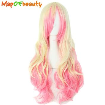 """MapofBeauty 28"""" Long loose wave Ombre wig Rainbow 12 Mix colors Women Synthetic hair cosplay wigs Heat Resistant Fake Hairpieces"""