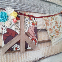 Peace Love Hippie Prayer Flag Bunting, Boho Chic Flags, Wall Hanging, Hippie Home Window Valance, FREE US Shipping