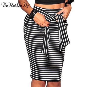Womens Skirt Fashion Women High Waist Stripe Lace Skirt  Bandage Mini Pencil Skirts White Black Sexy Bodycon Skirt