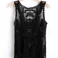 Black Semi Sheer Sleeveless Vintage Style Crochet Top