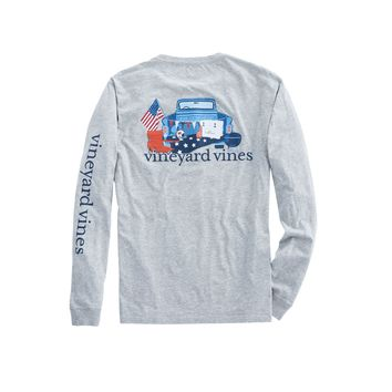 Vineyard Vines, Long-Sleeve Americana Game Day Pocket T-Shirt, Gray Heather