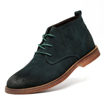 Green Autumn Suede Boots Brown Botas Hombre Ankle Boots Casual Oxford Shoes Vintage Rubber Boots For Men Autumn Suede Footwear