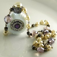 Vintage Czech Milk Glass Perfume Bottle Necklace, Baroque Pearl and Lavender Bead