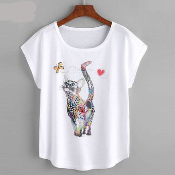 Dot fashion Cat Print Loose Tee Shirt