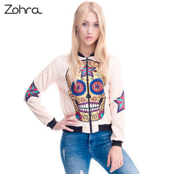Zohra Womens Clothing Bomber Jacket 3D Printed Mexican Skull Star Chaquetas Mujer Outwear Long Sleeve Coats Jackets
