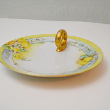 German Hand Painted China Plate with Ring Holder,  Antique Yellow Blue and White Candle Plate, German China Dish