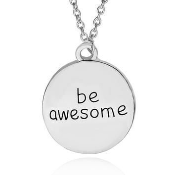 """Be Awesome"" Hand Stamped Charm Necklace"