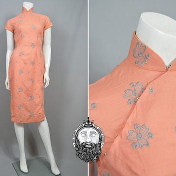 Vintage 50s Embroidered Linen Cheongsam Dress Peach Oriental Dress Asian Wiggle Dress Mandarin Collar Rockabilly 1950s Pin Up Girl Chinese