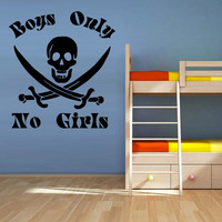 Wall Decal Vinyl Sticker Decor Art Bedroom Nursery Kids Baby Pirate Skull Only Boys No Girls (z1132)
