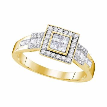 10kt Yellow Gold Womens Princess Diamond Square Cluster Bridal Wedding Engagement Ring 1/2 Cttw