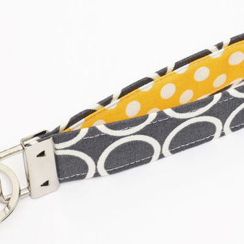 Fabric Key fob, mod keychain wristlet, cloth keyring, yellow key lanyard - white circles in gray with yellow polka dots