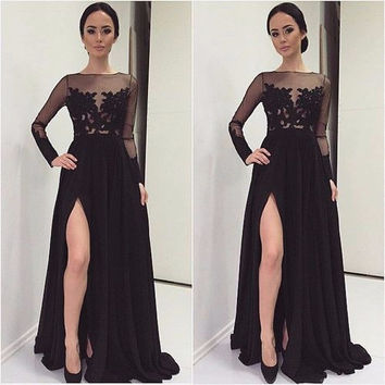 fashion simple black  Bridesmaid Dresses with long sleeves high slit  boat neck  appliques lace chiffon formal  gowns