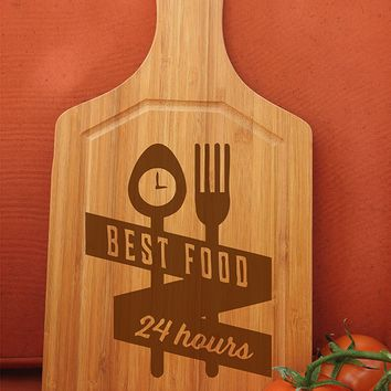 ikb438 Personalized Cutting Board Wood best food fork spoon restaurant kitchen appliances
